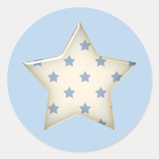 Pegatinas de la estrella del azul y del blanco pegatinas redondas