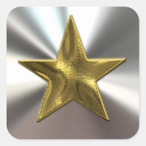 Pegatinas de la estrella y de la plata del oro pegatina cuadrada