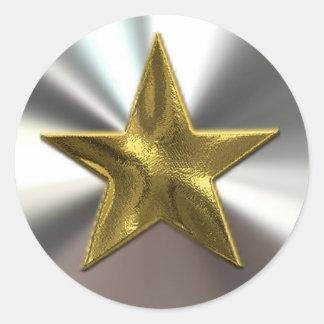 Pegatinas de la estrella y de la plata del oro pegatina redonda