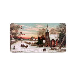 Pegatinas de la etiqueta del regalo de la Nochebue Etiqueta De Dirección