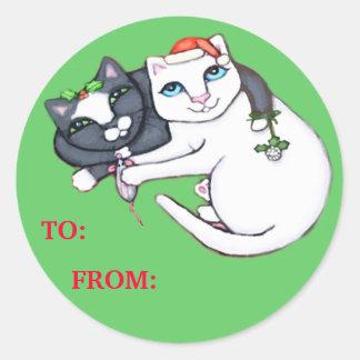 Pegatinas de la etiqueta del regalo del gatito del