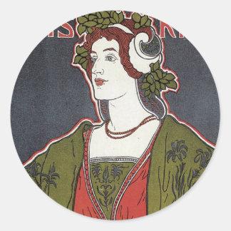 Pegatinas de la exposición de Nouveau del arte Etiqueta Redonda