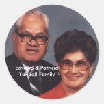 Pegatinas de la familia de Edward y de Patricia Etiquetas Redondas