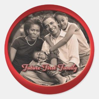 Pegatinas de la familia de Obama Etiquetas Redondas