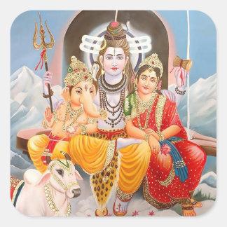 Pegatinas de la familia de Shiva Pegatinas Cuadradas Personalizadas