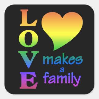 Pegatinas de la familia del arco iris pegatina cuadrada
