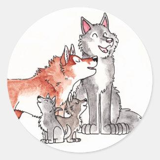 Pegatinas de la familia del lobo pegatina redonda