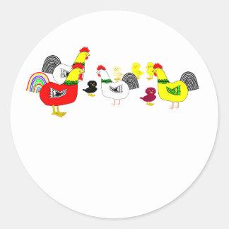 Pegatinas de la familia del pollo pegatina redonda