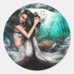 Pegatinas de la fascinación de la sirena etiqueta redonda