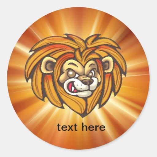 Pegatinas de la fauna de la cara del león del pegatina redonda