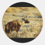 Pegatinas de la fauna del hyena de Brown Etiqueta Redonda