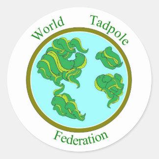 Pegatinas de la federación del Tadpole del mundo Etiquetas Redondas