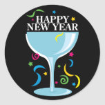 Pegatinas de la Feliz Año Nuevo Etiquetas Redondas