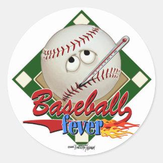 Pegatinas de la fiebre del béisbol pegatinas redondas