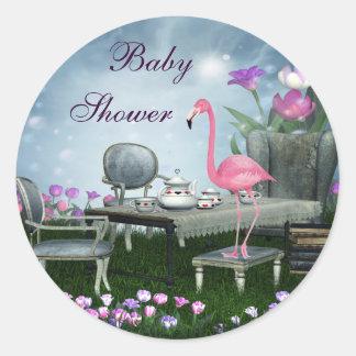 Pegatinas de la fiesta de bienvenida al bebé del etiqueta redonda