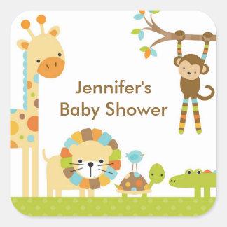 Pegatinas de la fiesta de bienvenida al bebé del calcomanía cuadrada personalizada