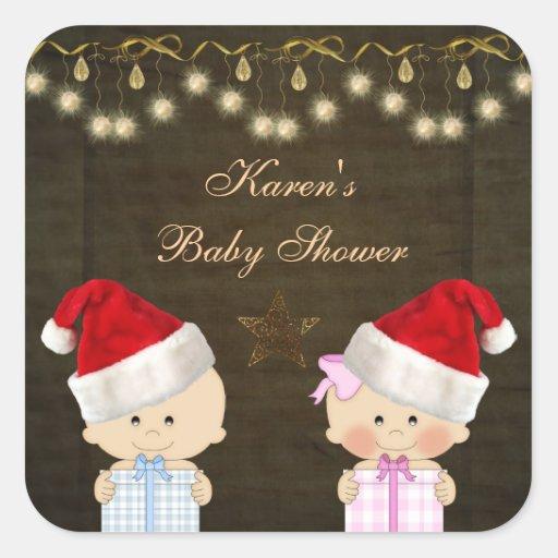 Pegatinas de la fiesta de bienvenida al bebé del calcomania cuadradas personalizadas