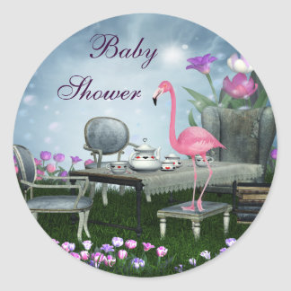 Pegatinas de la fiesta de bienvenida al bebé del pegatina redonda