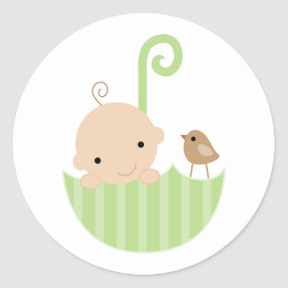Pegatinas de la fiesta de bienvenida al bebé pegatina redonda
