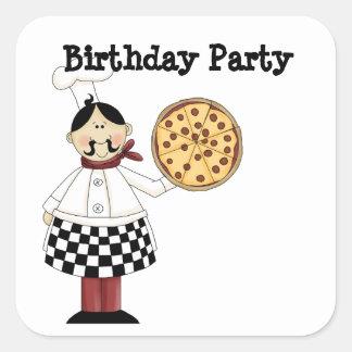 Pegatinas de la fiesta de cumpleaños de la pizza colcomanias cuadradas personalizadas