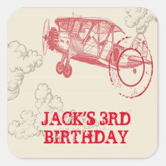 Pegatinas de la fiesta de cumpleaños del aeroplano pegatina cuadrada