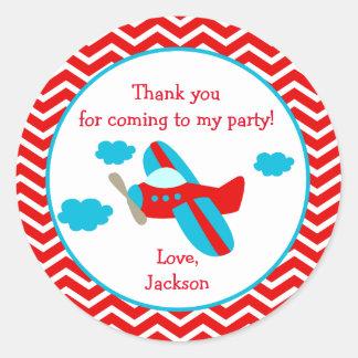 Pegatinas de la fiesta de cumpleaños del aeroplano pegatina redonda