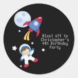 Pegatinas de la fiesta de cumpleaños del astronaut