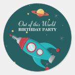 Pegatinas de la fiesta de cumpleaños del cohete etiquetas redondas