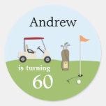 Pegatinas de la fiesta de cumpleaños del golf etiqueta redonda