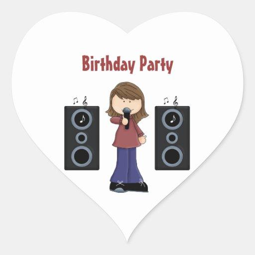 Pegatinas de la fiesta de cumpleaños del Karaoke Pegatina En Forma De Corazón