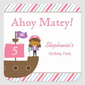 Pegatinas de la fiesta de cumpleaños del pirata calcomanías cuadradas