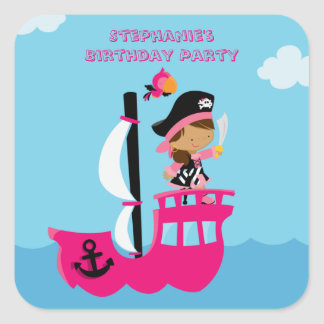Pegatinas de la fiesta de cumpleaños del pirata pegatina cuadrada