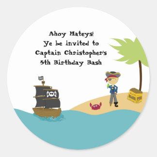 Pegatinas de la fiesta de cumpleaños del pirata pegatinas redondas