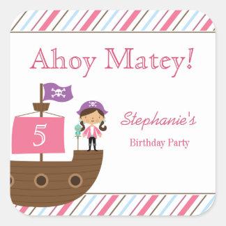 Pegatinas de la fiesta de cumpleaños del pirata de calcomanía cuadrada