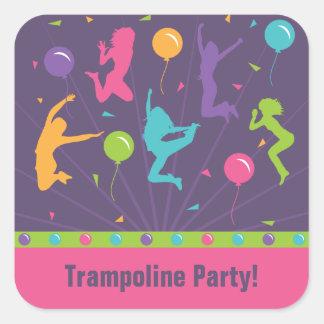 Pegatinas de la fiesta de cumpleaños del trampolín colcomanias cuadradas personalizadas