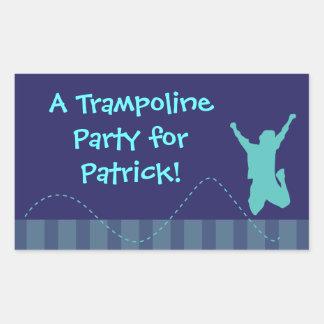 Pegatinas de la fiesta de cumpleaños del trampolín pegatina rectangular