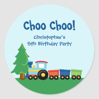 Pegatinas de la fiesta de cumpleaños del tren del etiqueta redonda