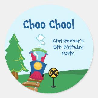 Pegatinas de la fiesta de cumpleaños del tren del etiquetas redondas