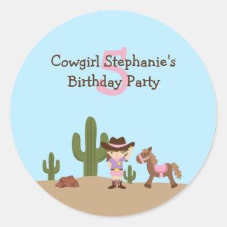 Pegatinas de la fiesta del cumpleaños del chica etiquetas redondas