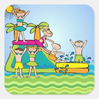 Pegatinas de la fiesta en la piscina de la pegatina cuadrada
