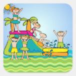 Pegatinas de la fiesta en la piscina del chapoteo pegatina cuadradas personalizada