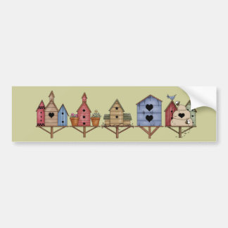 Pegatinas de la fila del Birdhouse Etiqueta De Parachoque