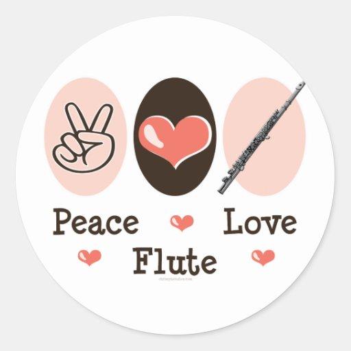 Pegatinas de la flauta del amor de la paz pegatina redonda