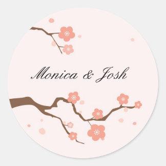 Pegatinas de la flor de cerezo pegatina redonda