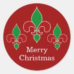 Pegatinas de la flor de lis del navidad etiquetas redondas