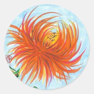 Pegatinas de la flor del crisantemo del caramelo etiquetas redondas