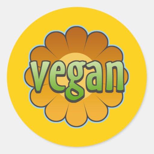 Pegatinas de la flor del vegano pegatina redonda