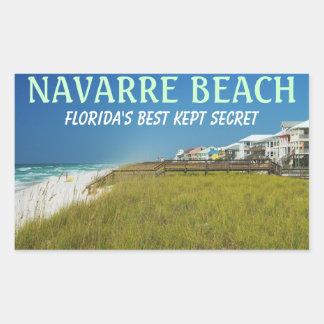 Pegatinas de la Florida de la playa de Navarra Pegatina Rectangular
