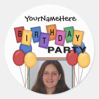 Pegatinas de la foto de la fiesta de cumpleaños