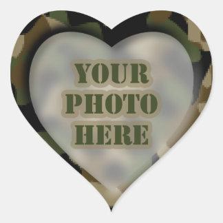 Pegatinas de la foto del corazón del camuflaje